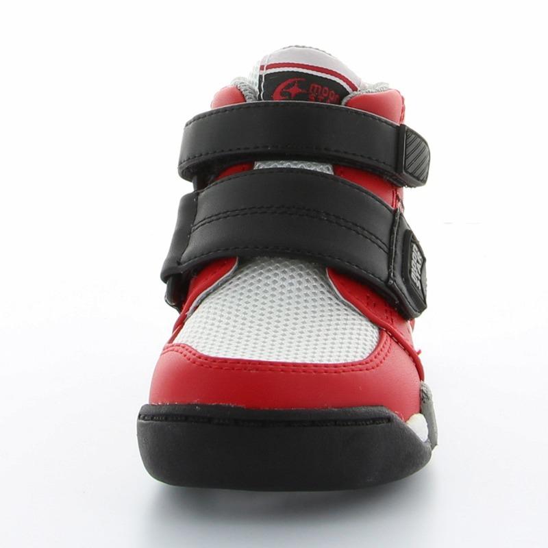 ムーンスター 子供靴 CR C2140 レッド 足元安定のハイカットキッズシューズ