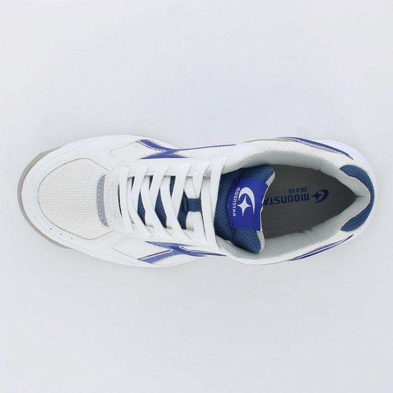 ムーンスター 子供靴/メンズ/レディース MS 3300G ホワイト/ネイビー 基本性能(軽量・屈曲・耐久性)を備えたポピュラーなグランドシューズ