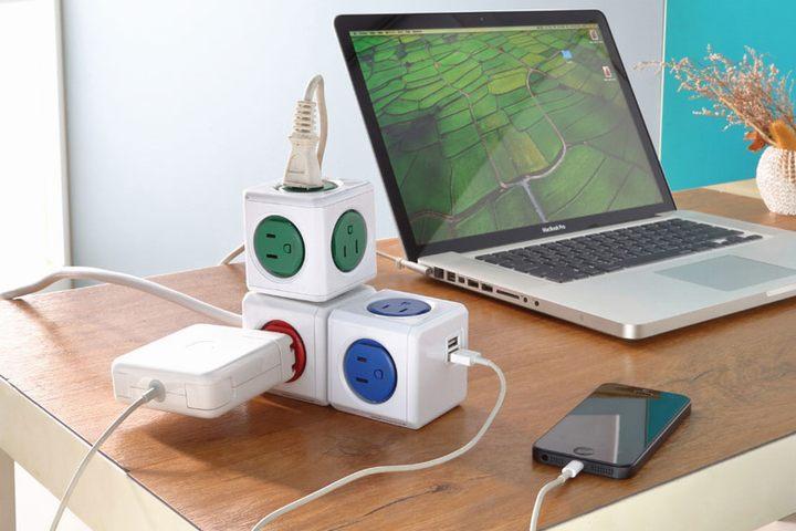 カラフルなデザインでデスクを彩る!ALOCACOC powercube[original] (電源タップ)USBコードなし