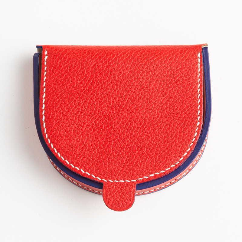 【NEW】 Cuvette Coin Case 馬蹄型 コインケース カーフ (ライニング:ラムレザー)  トリコロール(レッド×ライニング:オフホワイト×コバ:ブルー)