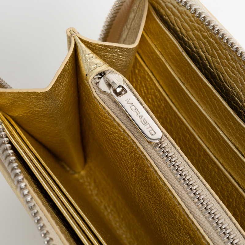 Long Wallet(ZIP付) 長財布 (ZIP付) カーフ (ライニング:ラムレザー) ゴールド 94(シルバー金具)
