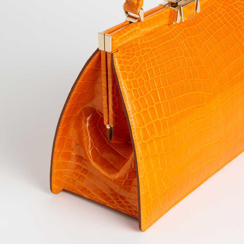 VOSGES ヴォージュ クロコダイル(ライニング:ラムレザー)  オレンジ 60(ゴールド金具)