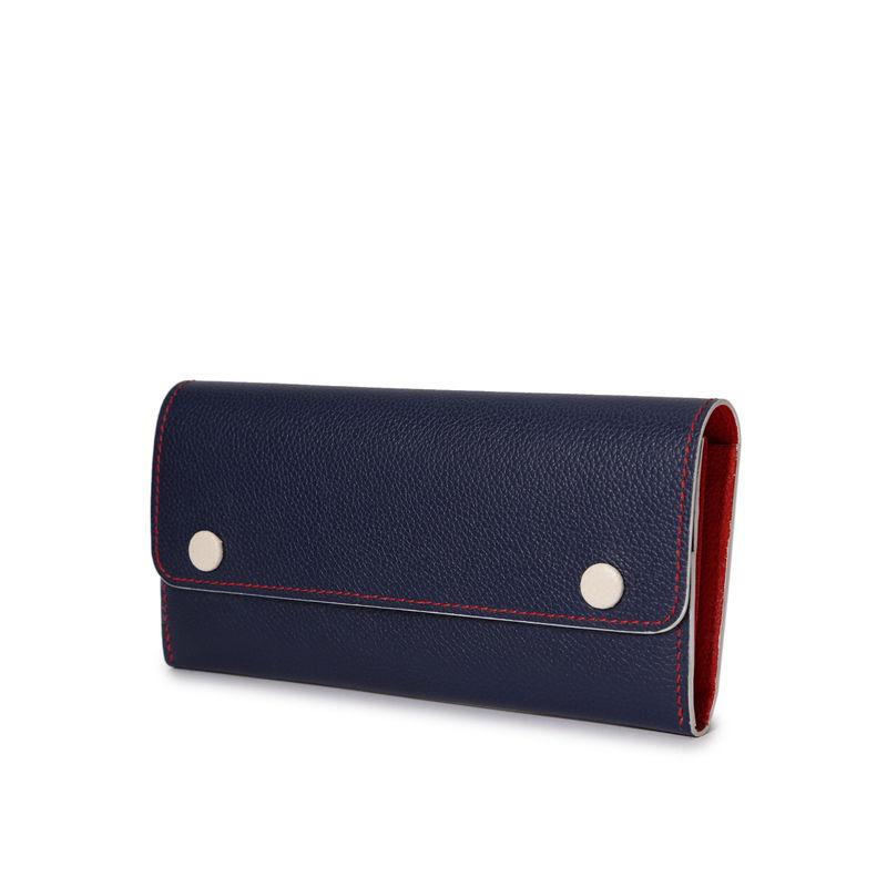 フラップ長財布(スナップ付) トリコロール(インディゴ×レッド×ベージュ)