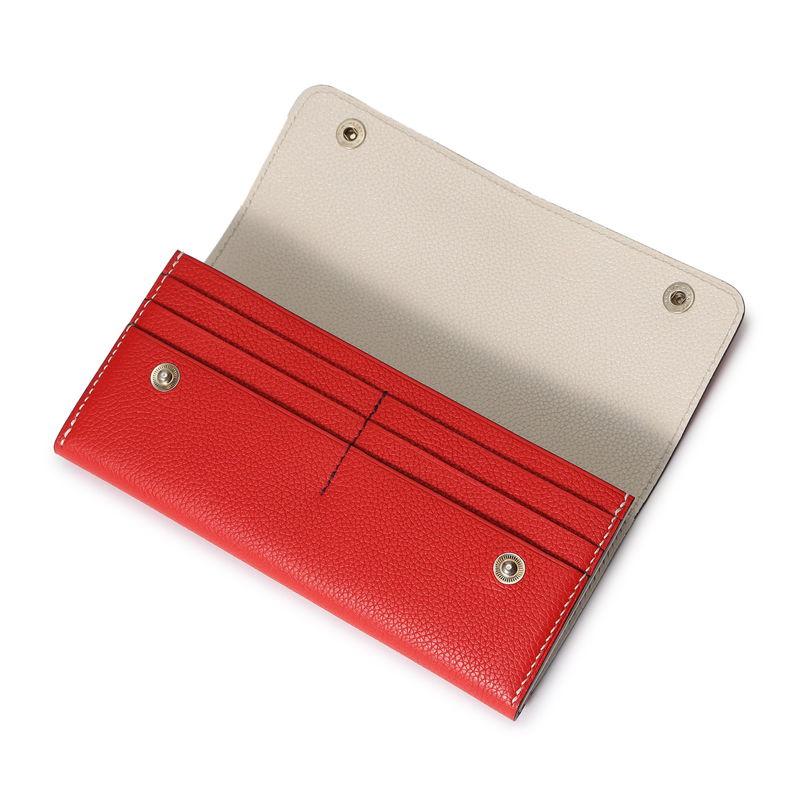 フラップ長財布(スナップ付) トリコロール(レッド×ベージュ×インディゴ)
