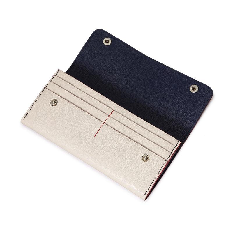フラップ長財布(スナップ付) トリコロール(ベージュ×インディゴ×レッド)