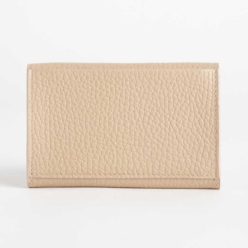 【NEW】 Card Case  カードケース カーフ (ライニング:ラムレザー) ベージュ 20E (シルバー金具)