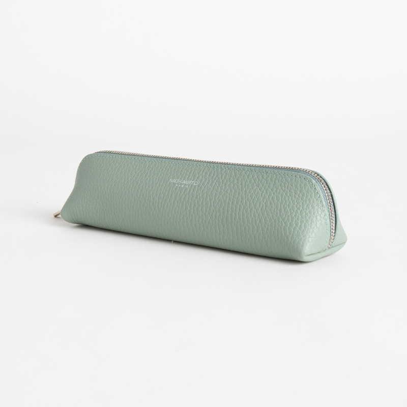 【NEW】 Pen Case ペン ケース カーフ (ライニング:ラムレザー) ライトグリーン 51E (シルバー金具)
