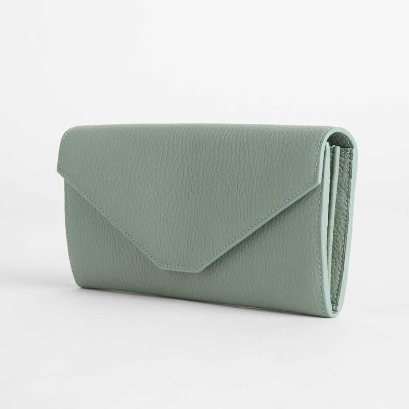 【NEW】 Long Wallet (FLAP) 長財布 (フラップ) カーフ (ライニング:ラムレザー) ライトグリーン 51E (シルバー金具)