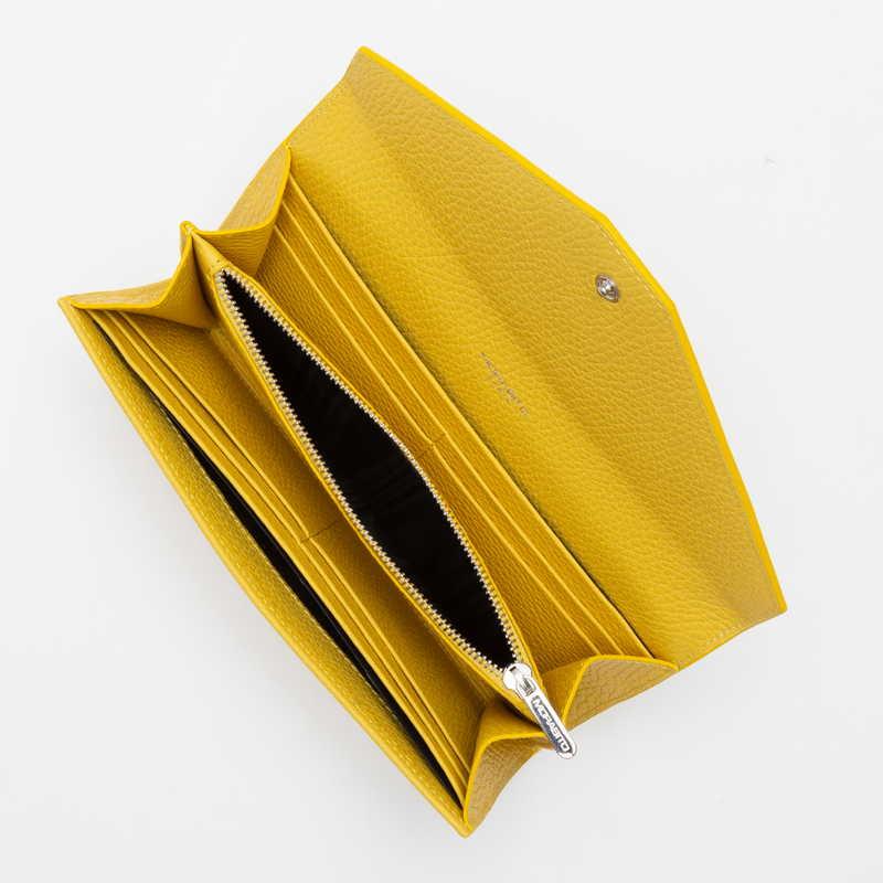 【NEW】 Long Wallet (FLAP) 長財布 (フラップ) カーフ (ライニング:ラムレザー) イエロー 90E (シルバー金具)