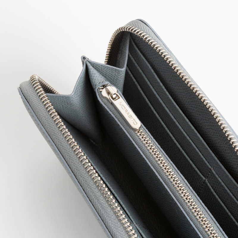 【NEW】 Long Wallet (ZIP付) 長財布 (ZIP付) カーフ (ライニング:ラムレザー) グレー 11 (シルバー金具)