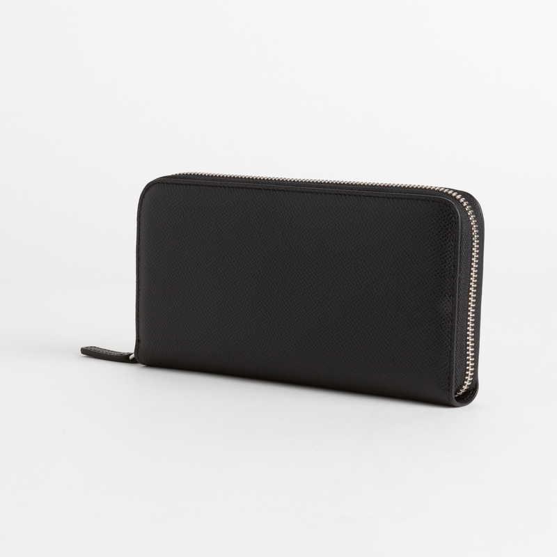 【NEW】 Long Wallet (ZIP付) 長財布 (ZIP付) カーフ (ライニング:ラムレザー) ブラック 10 (シルバー金具)