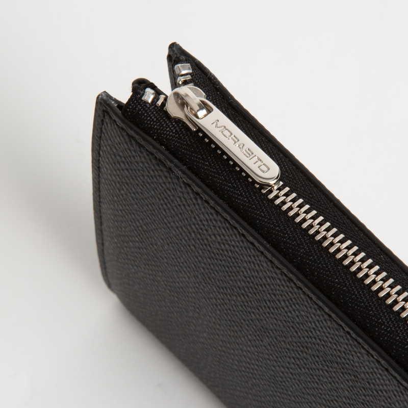 【NEW】 Key Card Case (ZIP付) キーカードケース (ZIP付) カーフ (ライニング:ラムレザー) ブラック 10 (シルバー金具)