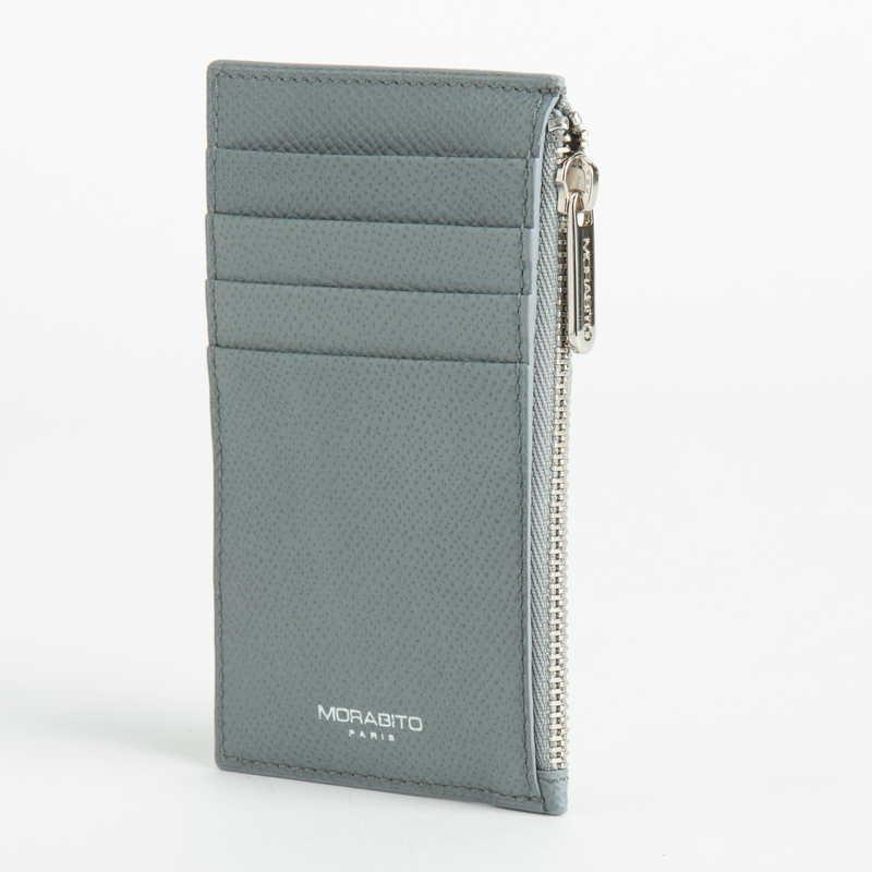 【NEW】 Coin Card Holder  コインカードホルダー カーフ (ライニング:ラムレザー) グレー 11 (シルバー金具)