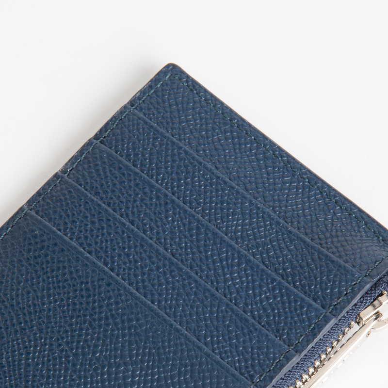 【NEW】 Coin Card Holder  コインカードホルダー カーフ (ライニング:ラムレザー) ネイビー 45 (シルバー金具)
