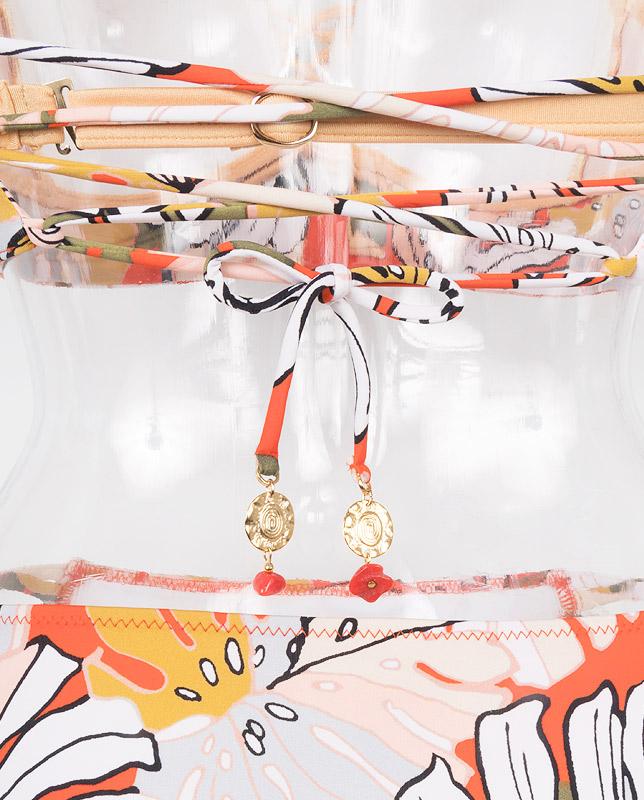 アート風ボタニカル柄バンドゥ・ハーフトップ水着3点セット 【LAULEA】