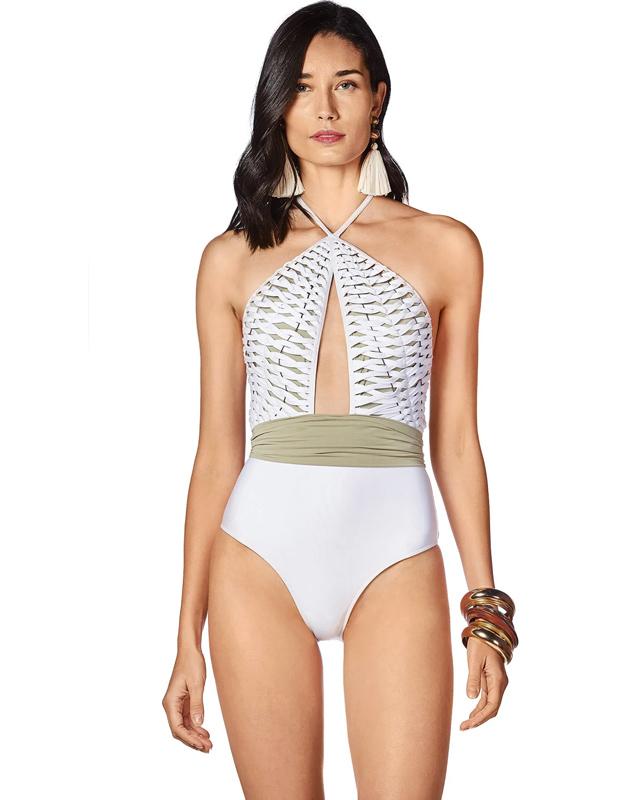 編み上げデザインワンピース水着 ベルト付き ホワイト Morena Rosa