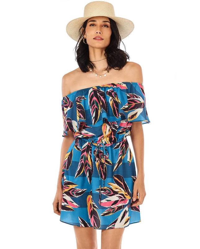 リーフ柄オフショルダーリゾートドレス Morena Rosa