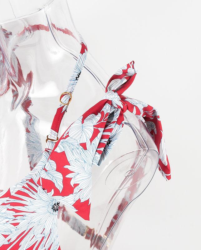 ストライプタッチ花柄 肩リボン プッシュアップパッド水着 【LAULEA】
