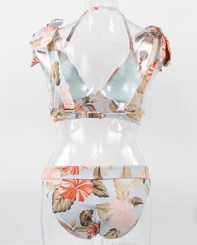 トロピカル花柄 肩リボン プッシュアップパッド水着 【LAULEA】