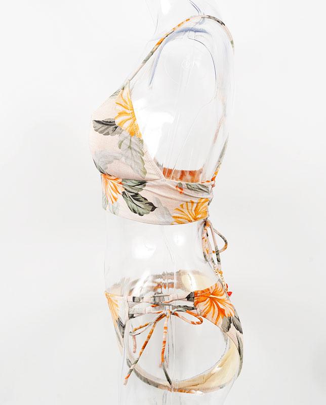 トロピカル花柄バンドゥ・ハーフトップ水着3点セット 【LAULEA】