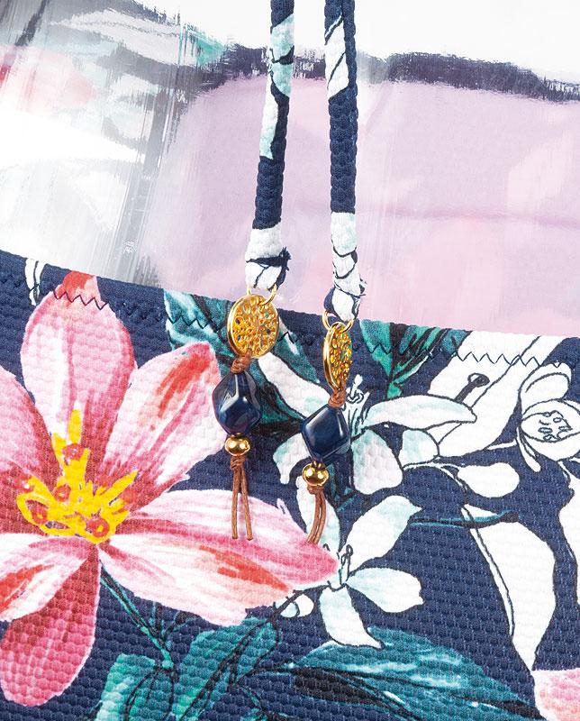 フロントノット花柄エンボス生地ワイヤー入りトップス水着 【LAULEA】