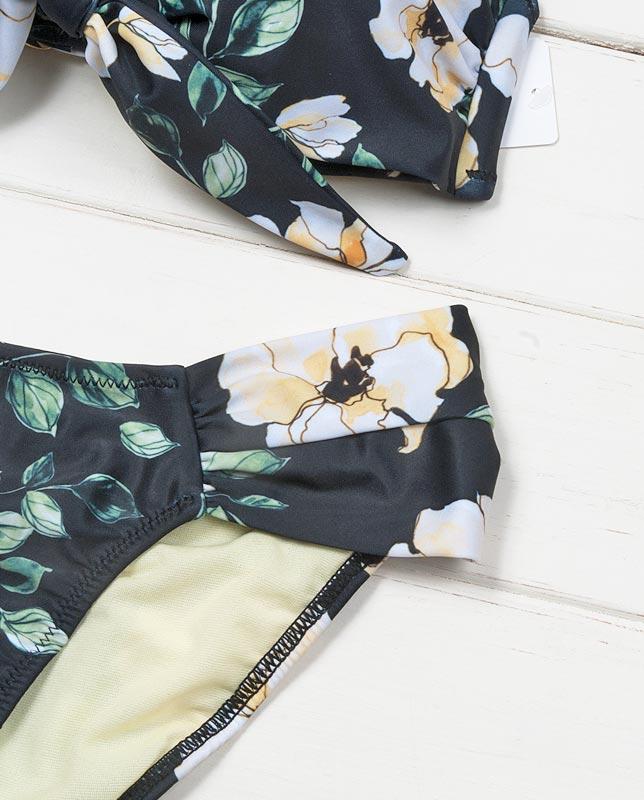花柄フロントノット ソフトカップ水着 【LAULEA】