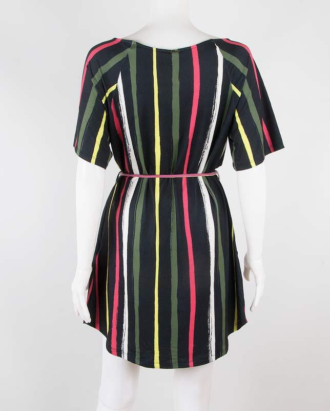 オープンショルダーTシャツドレス ストライプ Morena Rosa