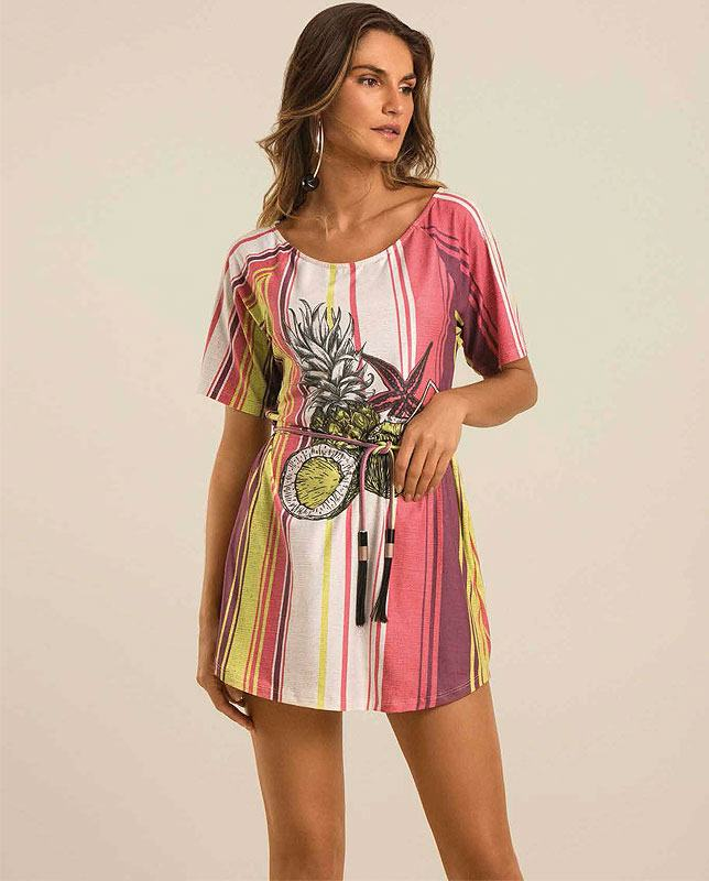 ベルト付きTシャツドレス トロピカルフルーツ Morena Rosa
