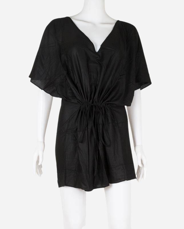 Vネック切り替えチュニックドレス ブラック Morena Rosa