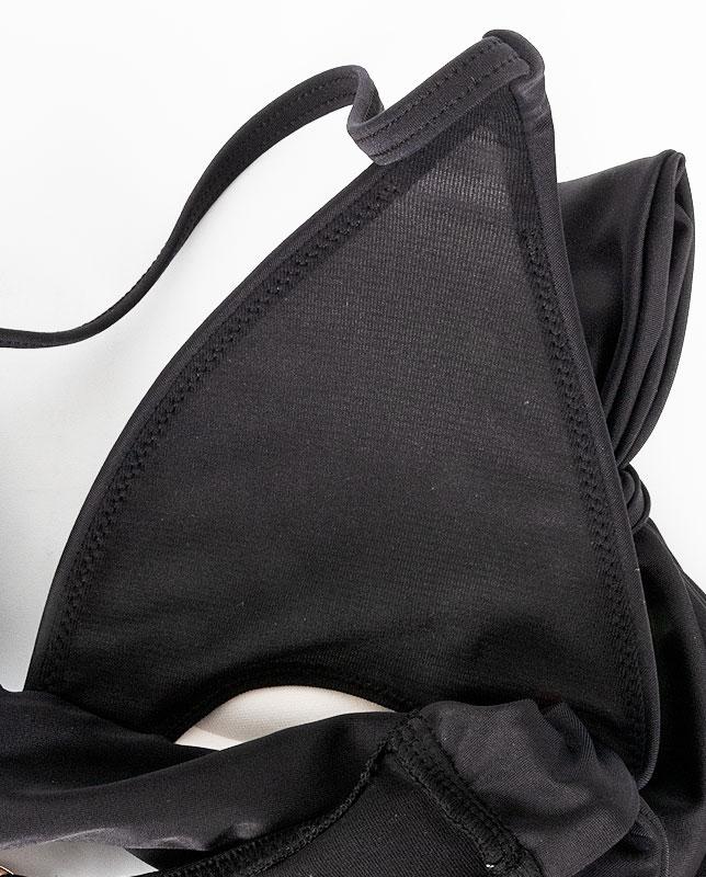 ワンカラー 肩リボン ワンカラープッシュアップパッド水着 【LAULEA】