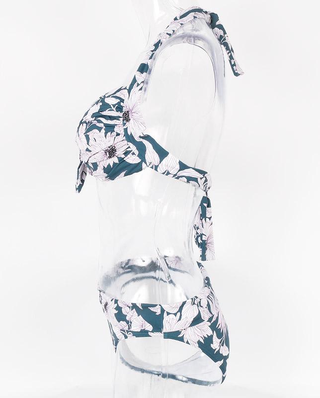 ストライプタッチ花柄 フロントノットホルター水着 【LAULEA】