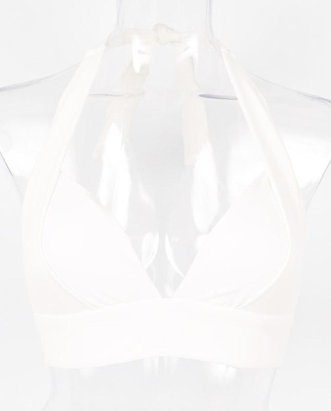 ボタニカルリーフ柄 ワンカラーホルターネック水着 【LAULEA】