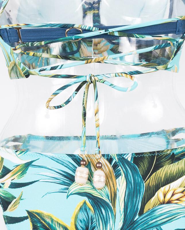■雑誌掲載商品■トロピカルボタニカル柄バンドゥ・ハーフトップ水着3点セット 【LAULEA】
