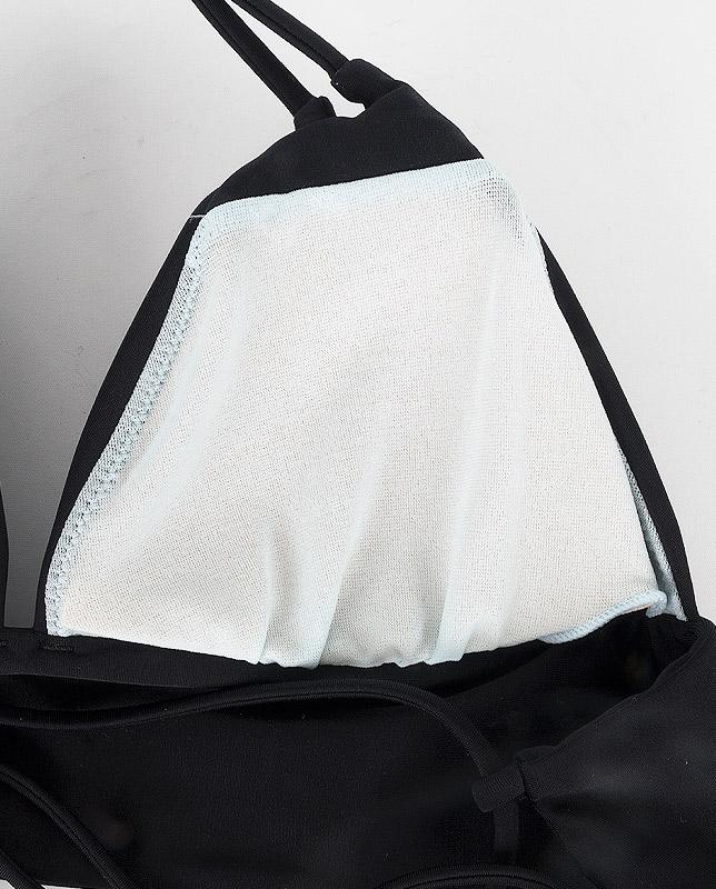トロピカルリーフ柄 ワンカラーホルターネック水着 【LAULEA】