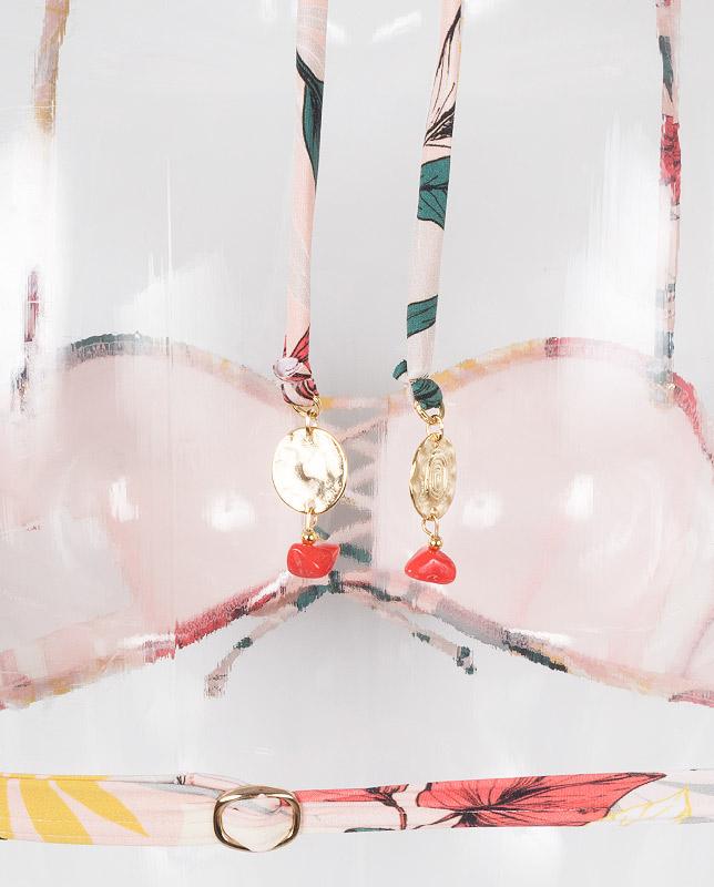 ボタニカル柄 レースアップバンドゥ水着 【LAULEA】