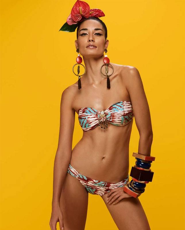 アフリカンメタルチャーム付きバンドゥ水着 ホワイト Morena Rosa