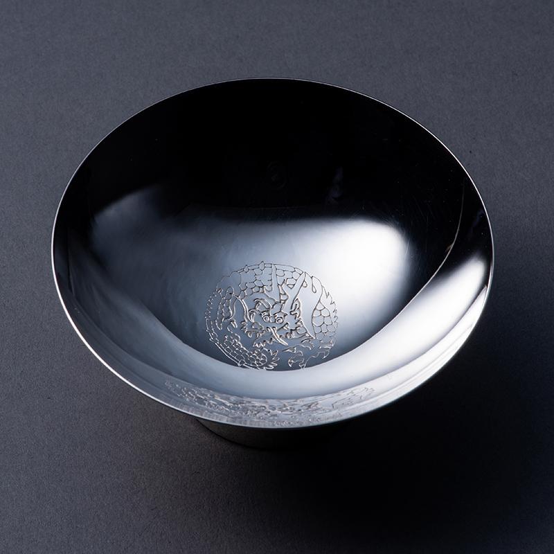 純銀 玉盃2寸 「龍と宝玉」