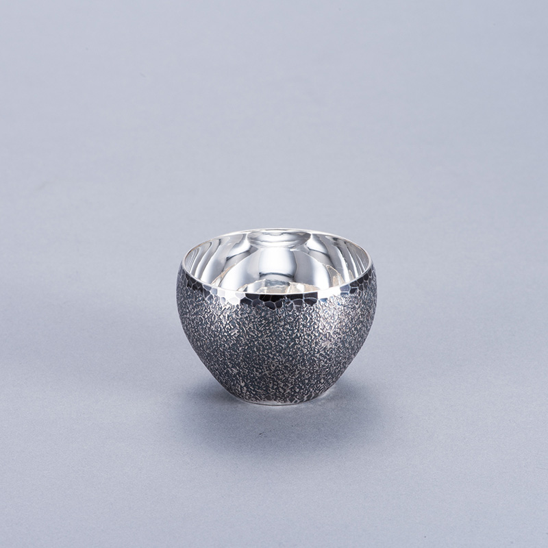 純銀 ぐいのみ 並型 岩石 古美仕上