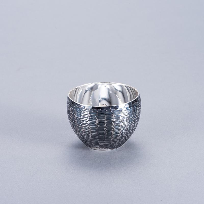 純銀 ぐいのみ 並型 茣蓙目 古美仕上