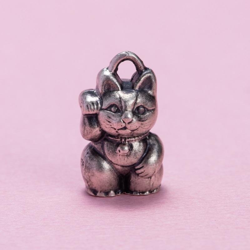 銀製 根付 両面招き猫