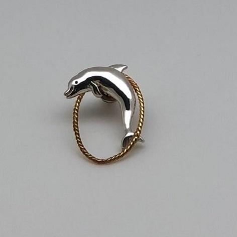 銀製 眼鏡ホルダー(イルカ)金ループ