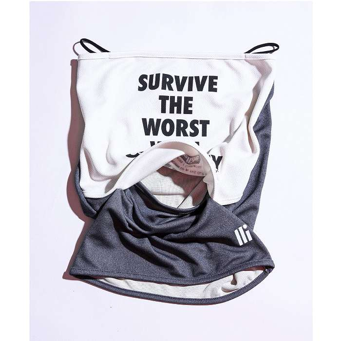 [ネコポス対応]SATELITE サテライト SATELLITE SPORTS SURVIVE FACE MASK スポーツサバイブフェイスマスク FACE MASK 002 ホワイト×グレイ