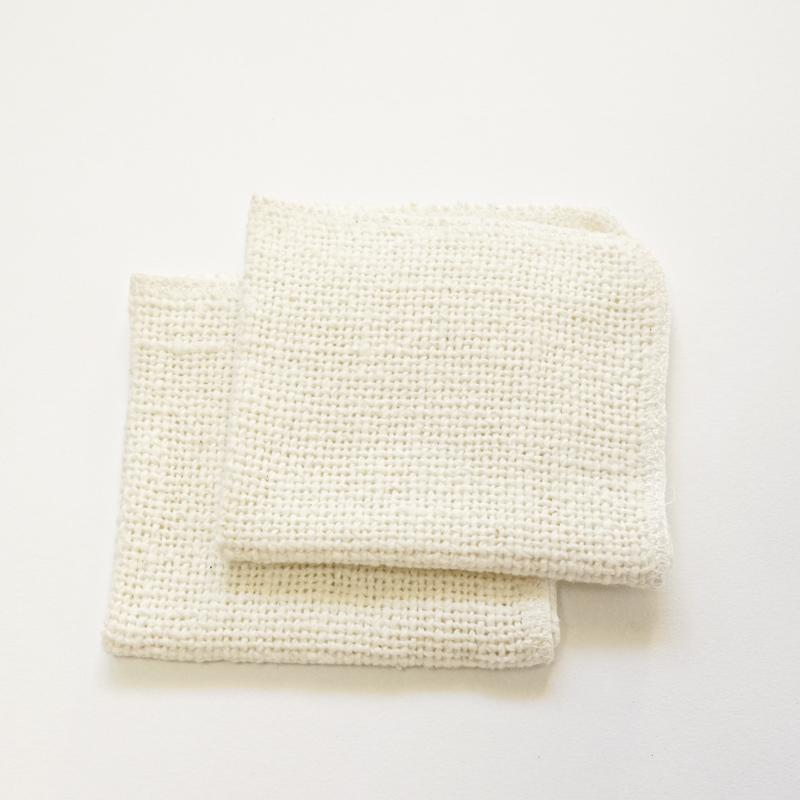 益久染織研究所 ガラ紡の化粧おとし(2枚組)