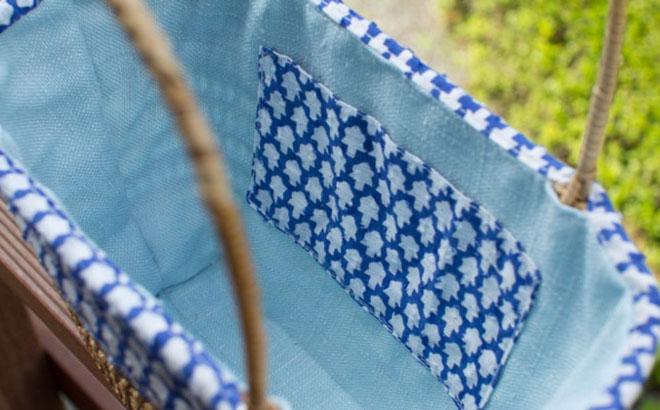 cob. ミャンマーのラタンバッグ ブルー