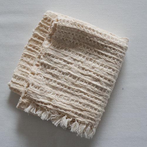 farola ワッフル織りのふんわりてぬぐい・白