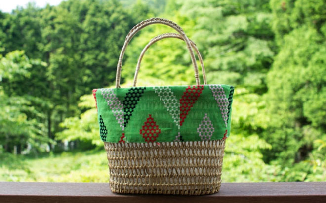 cob. ミャンマーのラタンバッグ グリーン