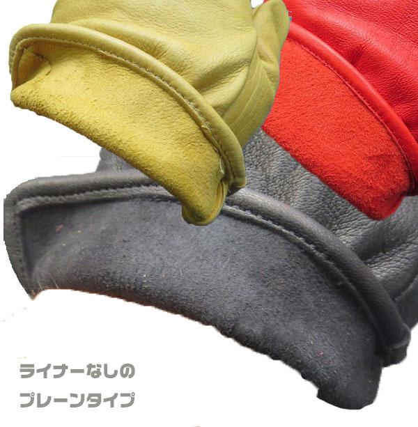 ゆうパケット送料無料!【GEAR】鹿革グローブ プレーン 3シーズン用 レッド(GGDS-03)