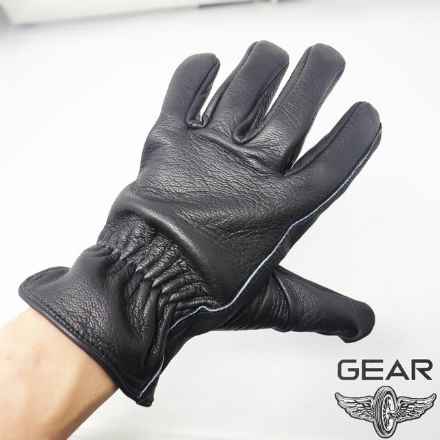 ゆうパケット送料無料!【GEAR】鹿革グローブ プレーン 3シーズン用 ブラック(GGDS-03)
