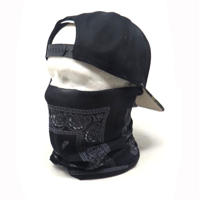 【ゆうパケット送料無料】バフマスク ストレッチ素材チューブマスク『ブラックペイズリー』 フェイスマスク バイク・アウトドア・ジョギング・日焼け・花粉対策
