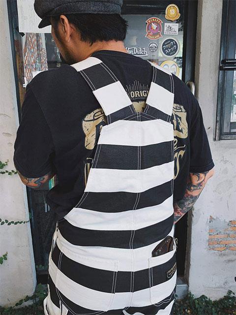 【FUCK!STOCK】 FST  プリズナーオーバーオール(M〜XL) ファックストック ボーダーOVERALL  囚人パンツ